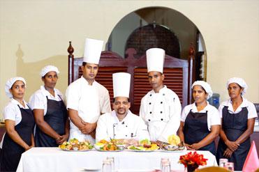 Kitchen staff of Golden Grill Restaurant Bentota